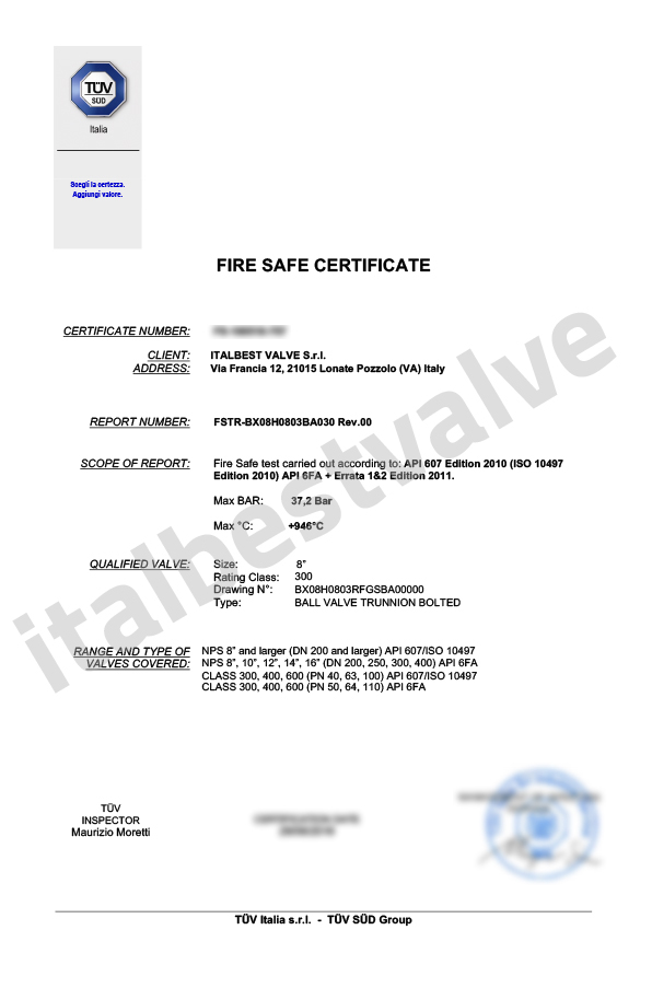 fire safe certification italbest valve